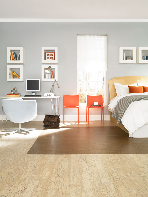 Bedroom-with-cork-parquet-flooring