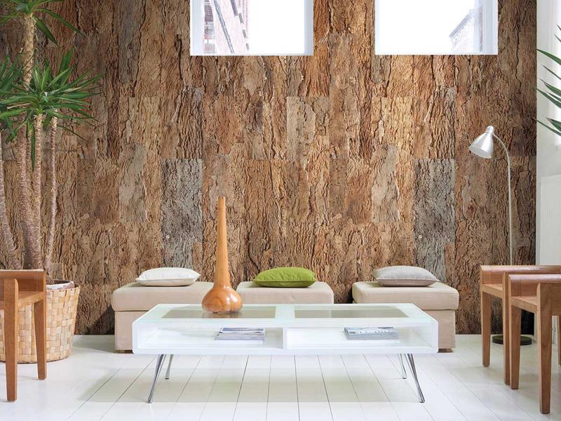 Cork-wallpaper-living-room-interior
