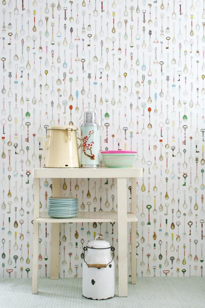 Designer Wallpaper-Studio Ditte-Teaspoons in situ