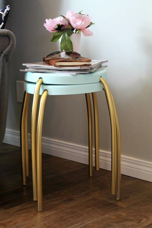 gold and blue stool