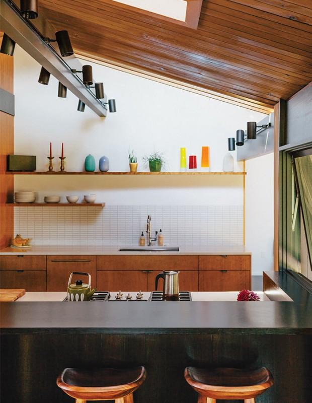 midcentury-renewal-kitchen-ann-sacks-tile-barstools